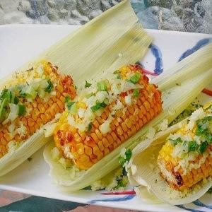Mazorcas de maíz en freidora sin aceite